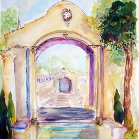 Balboa-Park-Theater-Entrance,-by-Jennifer-Bentson,-Watercolor,-20'-x-24'
