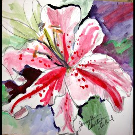 Wedding-Flower,-by-Jennifer-Bentson,-Watercolor,-5'-x-6'