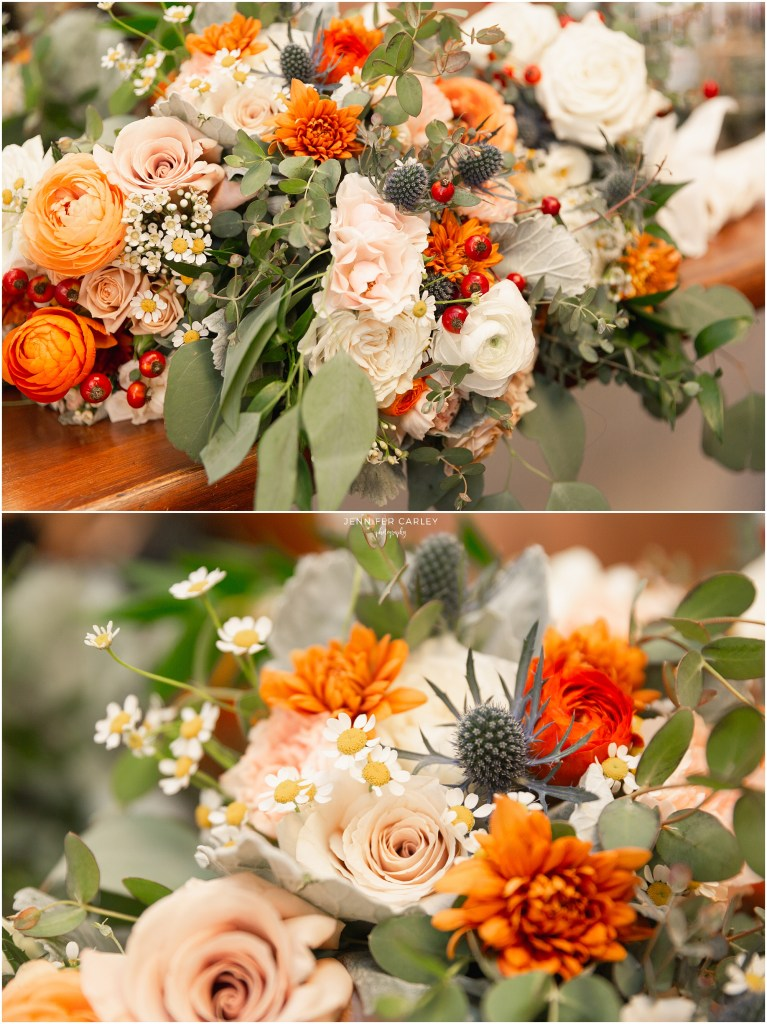 Fall wedding flowers, fall wedding, denton wedding, denton fall wedding, little chapel in the woods, orange and peach wedding colors, Scottish Wedding