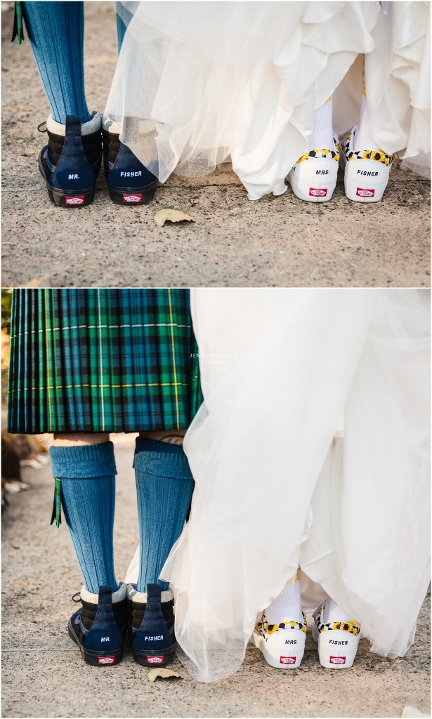 Cool bride and groom, bride and groom shoes, van shoes, TX weddings, Dallas Weddings, Denton Weddings, Little Chapel in the Woods, Weddings in Denton, Flower Mound Wedding Photographer