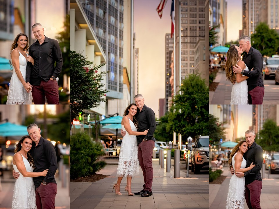 dallas engagement session, klyde warren park engagement session, happy hour, att discovery district, the statler hotel, the joule hotel, klyde warren park engagement photos, Dallas City Lights Engagement Photos