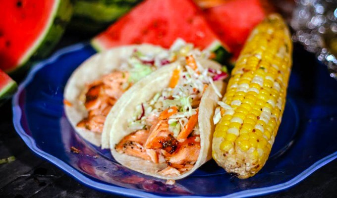 Sweet and Spicy Salmon Fish Tacos