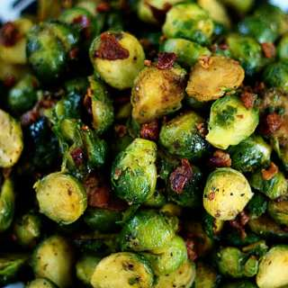 Sauteed Brussels Sprouts with Crisp Bacon