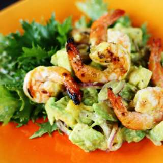 Avocado-Mango Salad with Grilled Shrimp