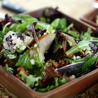 Spring Greens with Pears, Sugared Walnuts & Gorgonzola