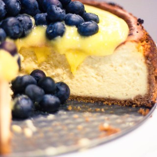 New York Style Cheesecake with Lemon Curd & Fresh Blueberries