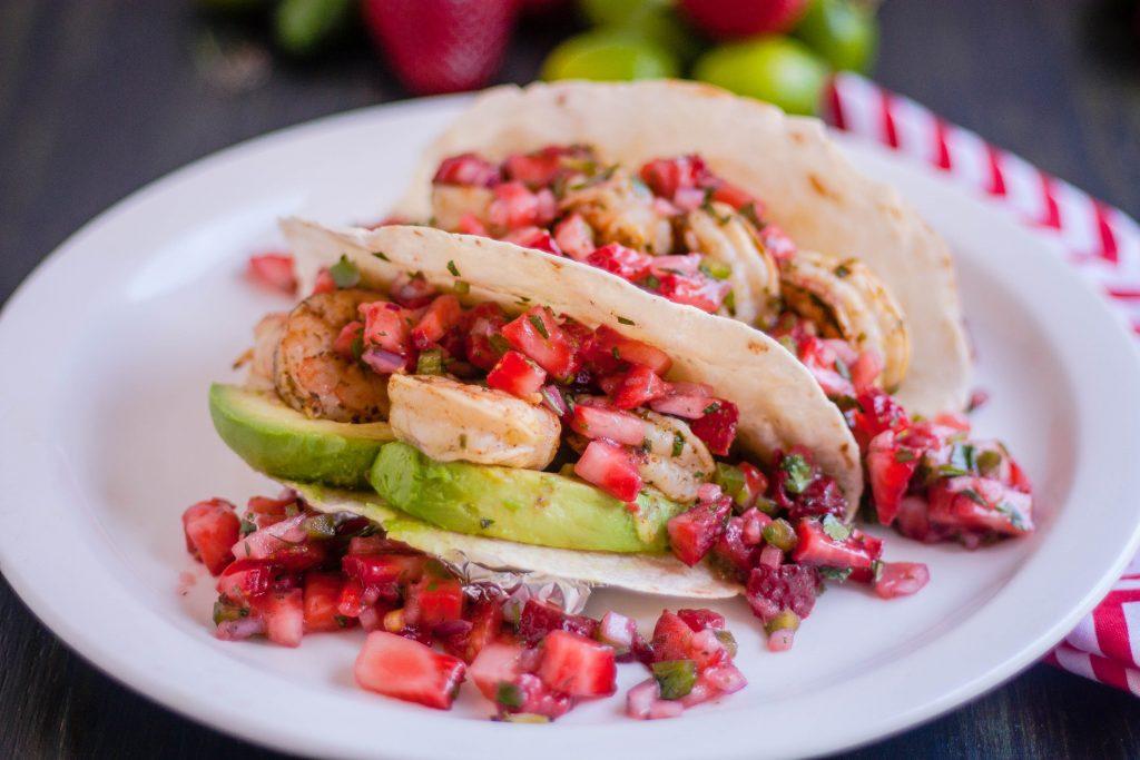 Grilled Cilantro Lime Shrimp Tacos with Strawberry Jalapeño Salsa | Jennifer Cooks