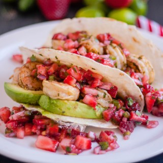 Grilled Cilantro Lime Shrimp Tacos with Strawberry Jalapeño Salsa | Jennifer Cooks