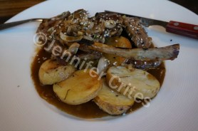 Tender lamb chops and potatoes (papas) at Sugar restaurant in the city of Trelew, Argentina.