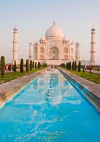 Classic Taj Mahal with reflecting pool
