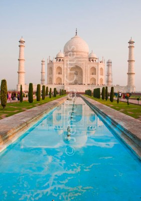 Classic Taj Mahal with reflecting pool