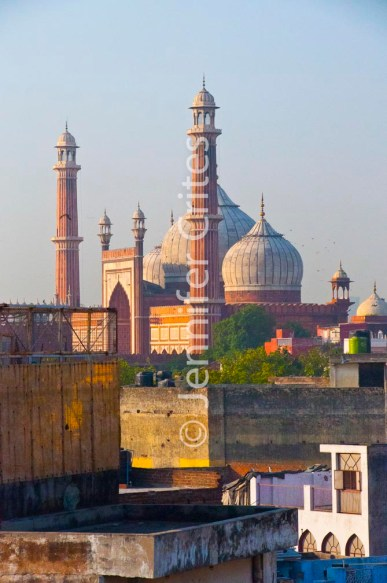 View of Old Delhi rooftops and Jama Masjid, a mosque built by Shah Jahan in a similar style to the Taj Mahal.