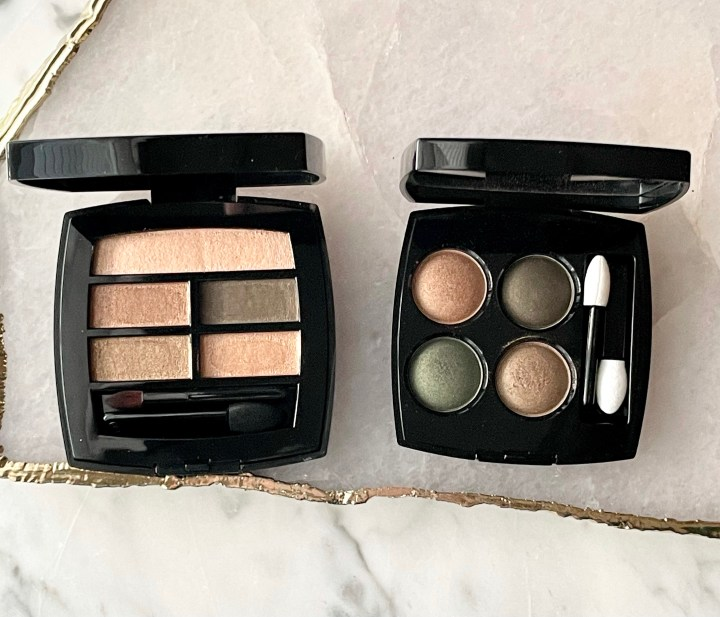 Chanel Les Beiges Intense Eyeshadow Palette and Blurry Green Eyeshadow Palette Comparison and Swatches