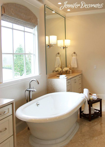 we may not be able to have such a grand tub or marble counter tops like this  but we can create a stunningly decorated bathroom using inexpensive items. 4 Essential Tips to Accessorizing a Beautiful Bathroom   Jennifer