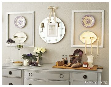 Attirant How Beautiful Is This Wall Decor Idea? This Is A Really Neat, And  Inexpensive Floating Art Design Using Old Frames Painted White, With  Antique Plates Hung ...