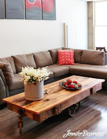 How To Accessorize A Coffee Table. If You Like A Modern Country Design,  This Room May Fill Your Bill. The Coffee Table Is An Old Cart From A  Factory.