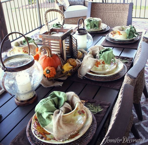Outdoor fall decorating ideas from Jennifer Decorates.com