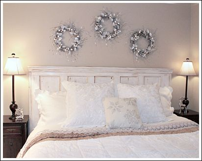 I Changed The Bed Linens To All White, And Added A Silver Reindeer On Each  Of The Bedside Tables. There Are Many Different Christmas Wreath Ideas ...