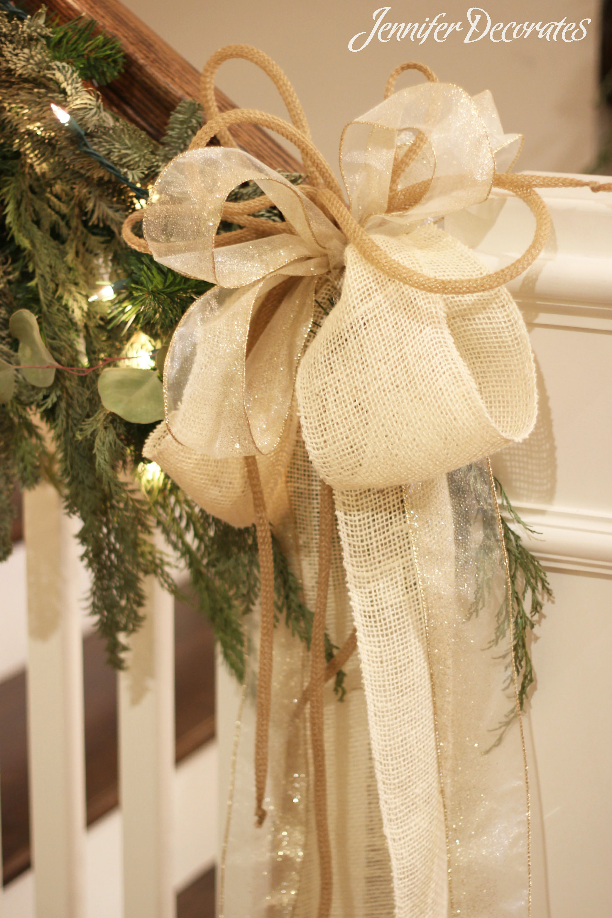 White Christmas Decorating Ideas From Jennifer Decorates. What A Beautiful  Bow! I Took This Photo In A Christmas Parade Of Homes.