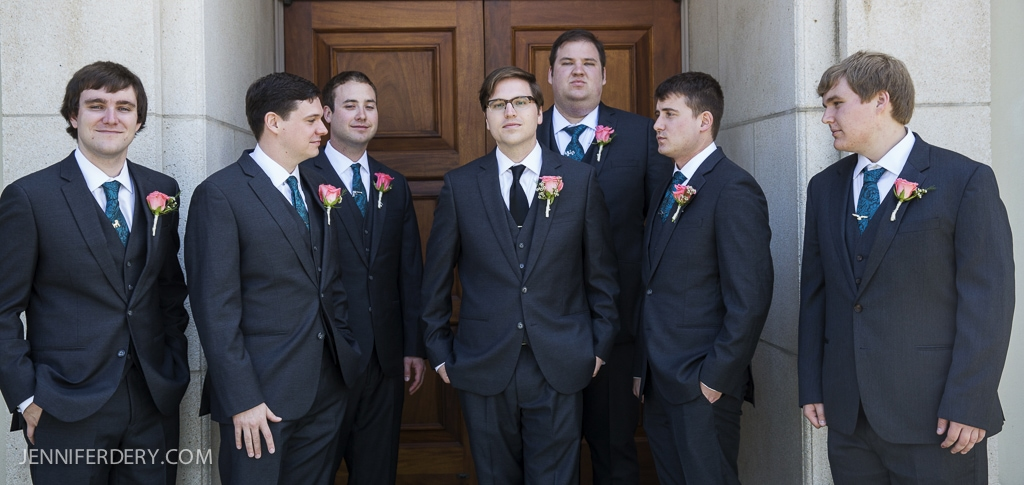 photo of groomsmen wearing teal / turquoise ties