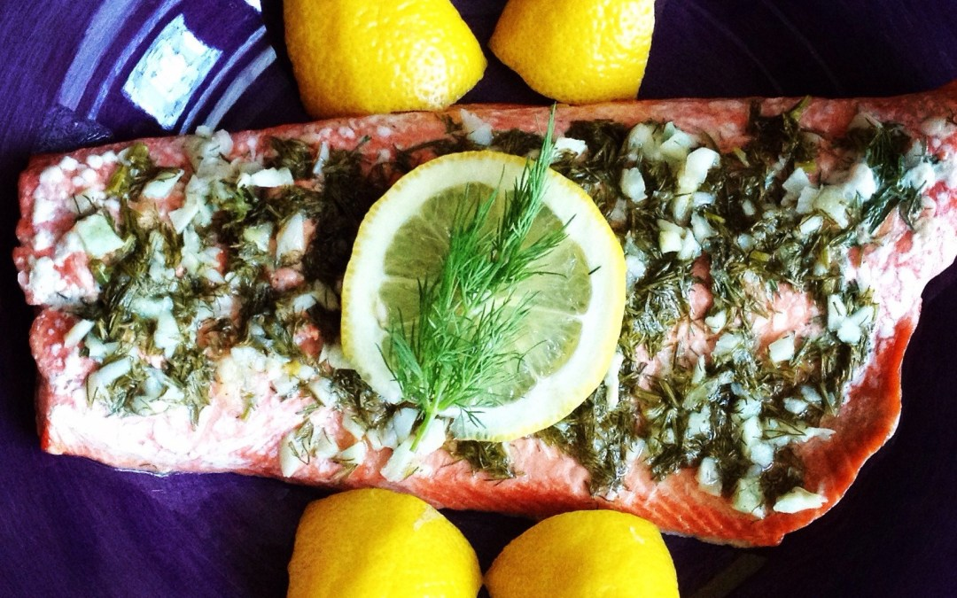 Wild Salmon with Garlic & Dill
