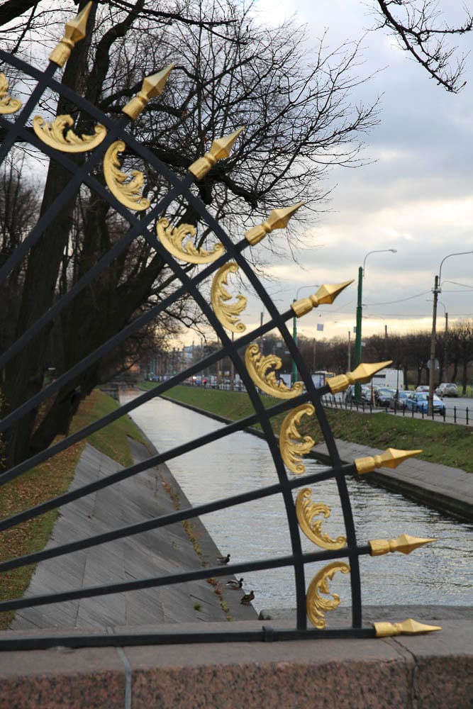 Signature black and gold railings in imperial Russia's capital, St. Petersburg.