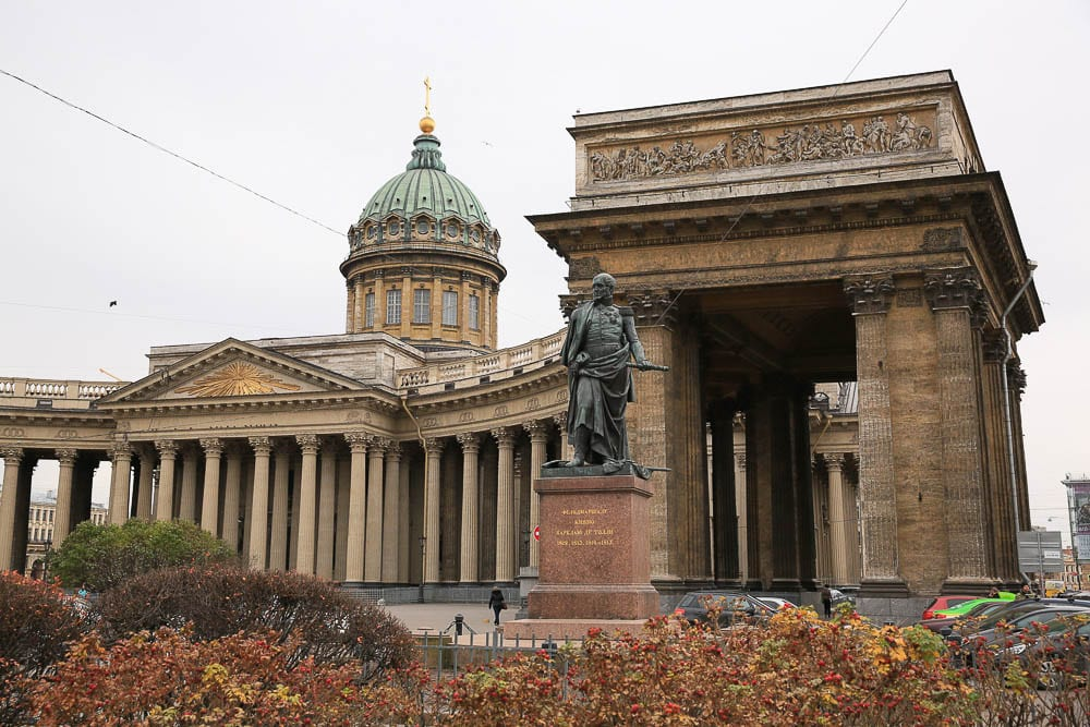 St. Petersburg Kazan Cathedral on Nevsky Prospekt, with the statue of the military hero, Barclay de Tolly, who appears in Tolstoy's War and Peace.