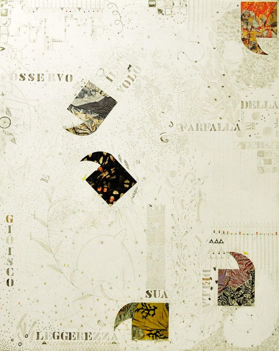 OSSERVO IL VOLO….olio inchiostro collage smalto 72 x 58 (2008)