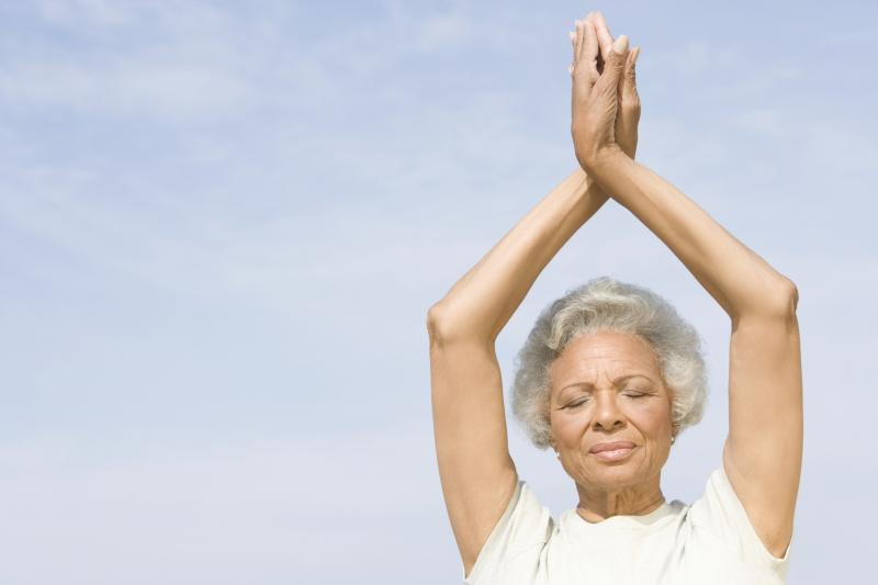 yoga-pose-exercise-elderly-african-american-black-woman