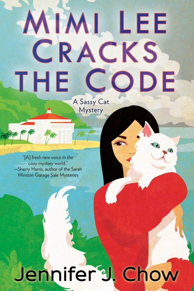 Cover for Mimi Lee Cracks the Code; Mimi Lee is holding her white Persian cat, Marshmallow, in front of Catalina Island