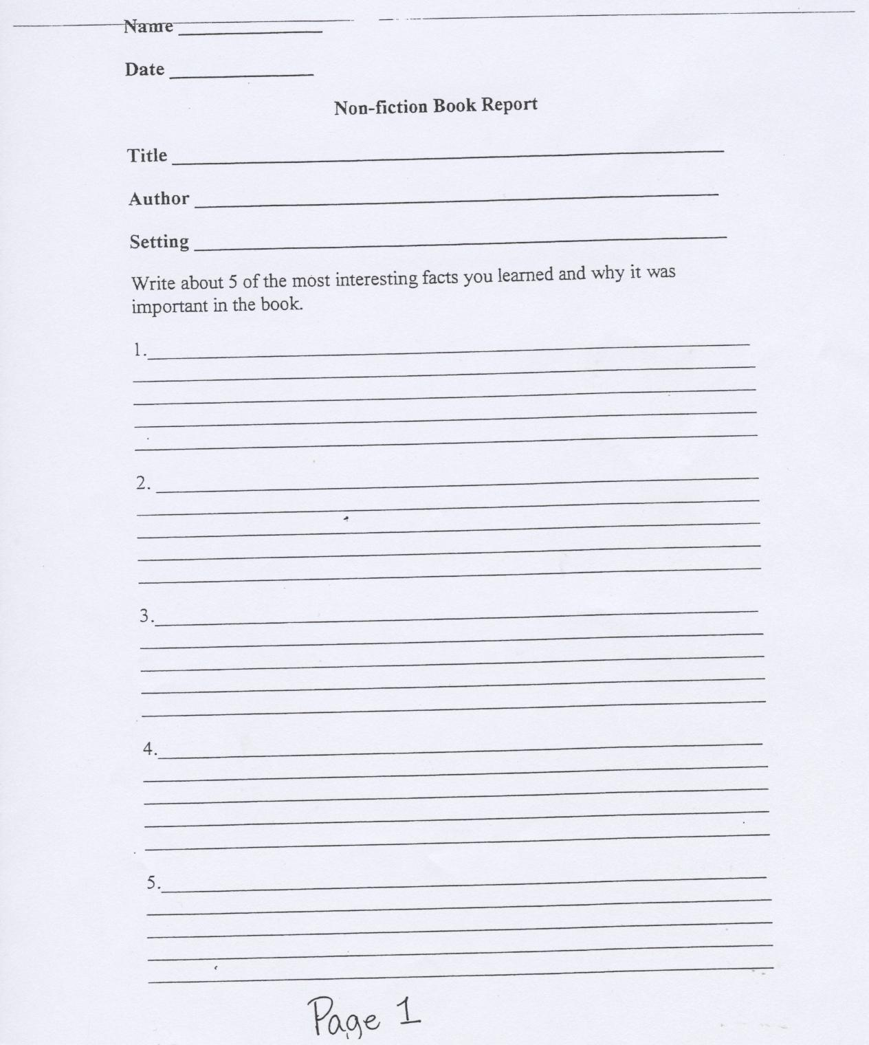 Non Fiction Book Report Form For Second Grade