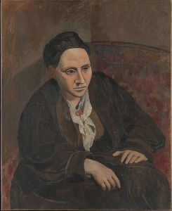 "Salon guest Picasso painted this portrait of Gertrude Stein. Confronted by someone who didn't think the painting looked like her, Picasso replied, ""She will."""