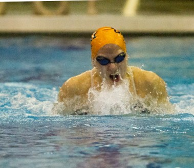 OPRF senior Genevieve Curry competes in the 100-yard breastroke at the IHSA Girls Sectionals on Saturday, Nov. 14, 2015.