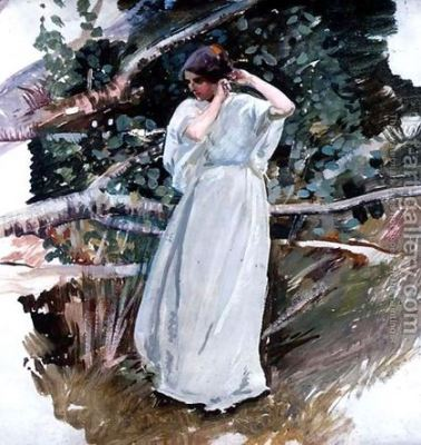 """""""Young woman in a white dress"""" by Harry Watson"""