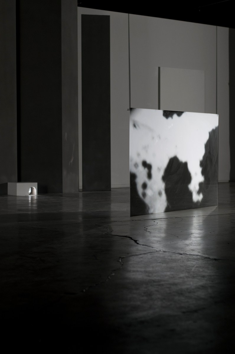 """Installation at """"Six:"""" Try-Me Gallery, Richmond, VA. Video is rear-projected onto suspended acrylic projection sheeting."""