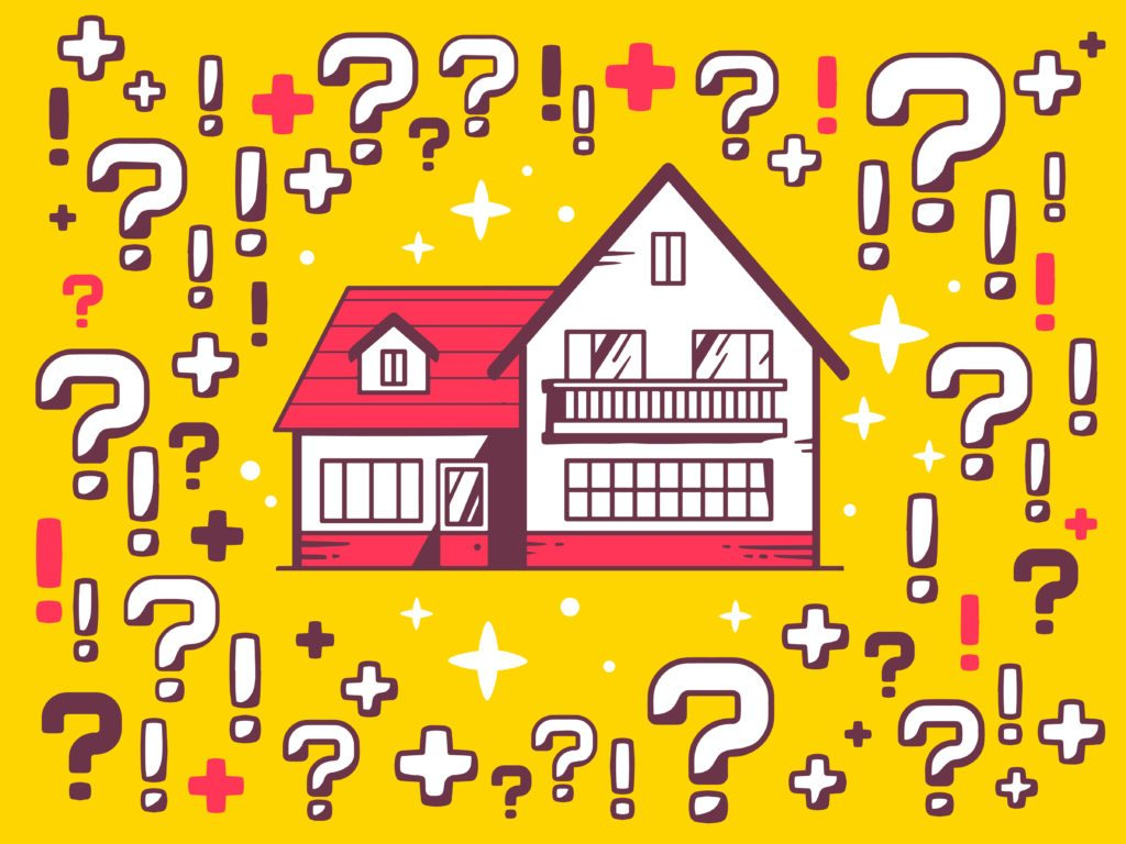 Vector illustration of many questions and exclamation marks arou