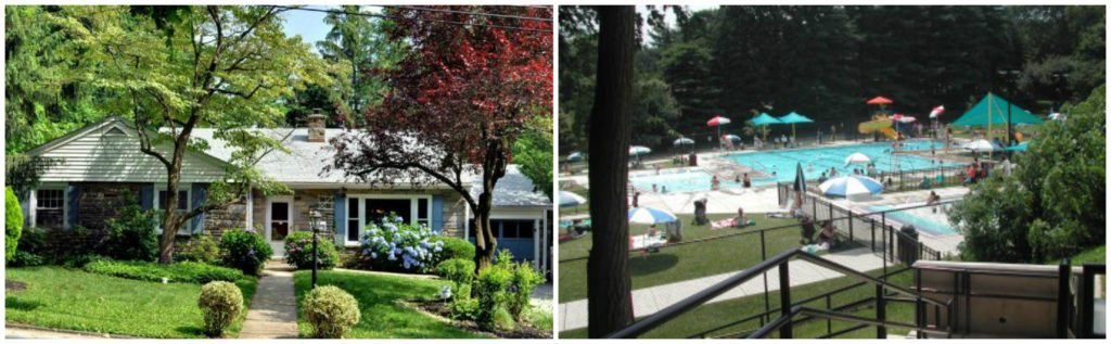 Typical Belmont Hills house, Lower Merion community pool