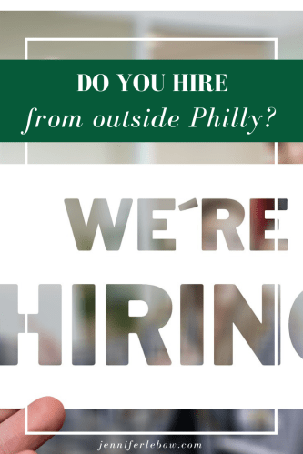 Hiring from outside Philadelphia