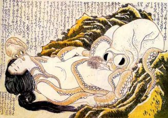 """Katsushika Hokusai, """"The Dream of the Fisherman's Wife,"""" 1814."""