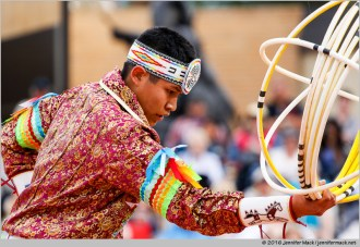 Phoenix, Arizona, USA. 14th February, 2016. Tyrese Jenson competes in the final round of the 27th Annual World Championship Hoop Dance Contest. © Jennifer Mack/Alamy Live News