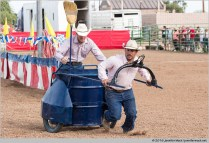 Chander, Arizona, USA. 11th March, 2016. Two cowboys demonstrate the workings of an ostrich race chariot at the 28th Annual Chandler Ostrich Festival. The yearly festival runs for three days and draws large crowds. © Jennifer Mack/Alamy Live News