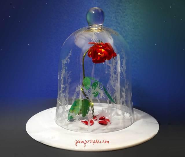 Diy Enchanted Rose Disneys Beauty The Beast Decorated Bell Jar Cloche Magic