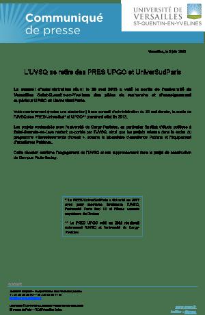 L'UVSQ se retire des PRES Upgo et Universud Paris