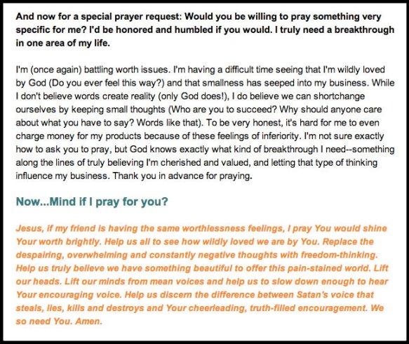 prayer request sense of worth