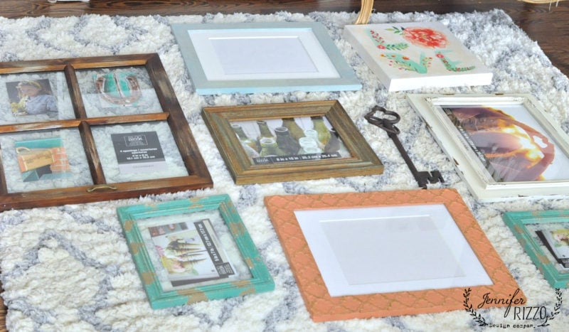 Lay out a collage gallery wall on the floor first before hanging on the wall