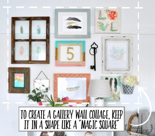 Use a magic square or rectangle to create a collage gallery wall. As long as it all fits even in teh shape, you can mix and match and build your grouping