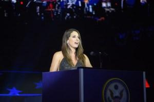 Jennifer at podium Introducing The Military Band