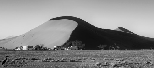 Hikers walking up the spine of Big Daddy dune in Sossusvlei, Namibia, April, 2015 1/1250sec, f11, ISO 1100