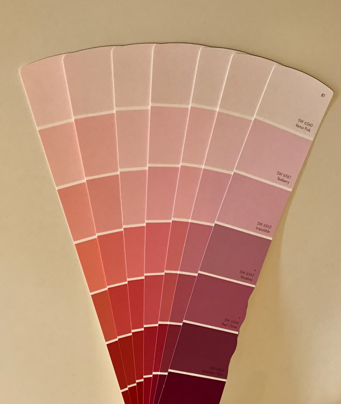 pink paint samples