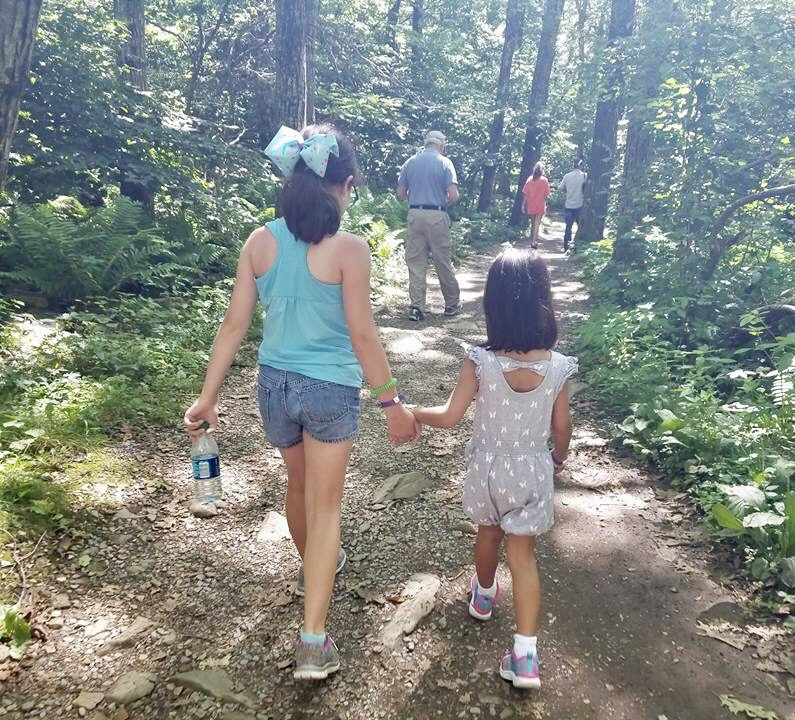 Caro and Avery hiking